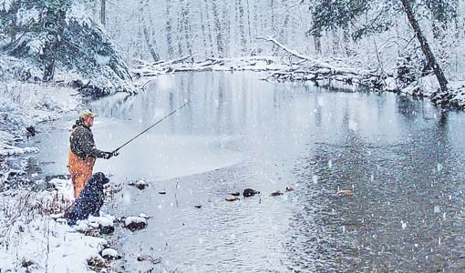 Winter fishing at Douthat State Park creek